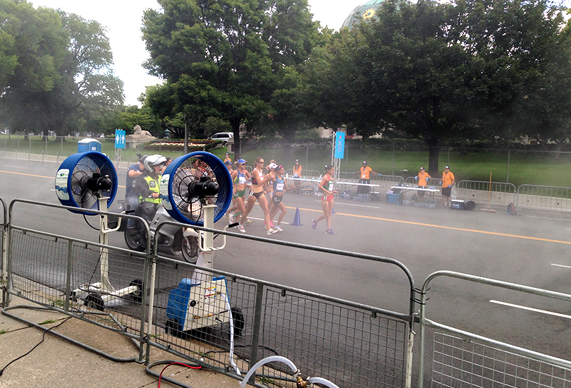 Misting fans during race