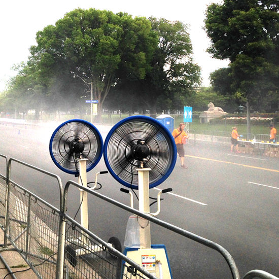 Misting fans for runners