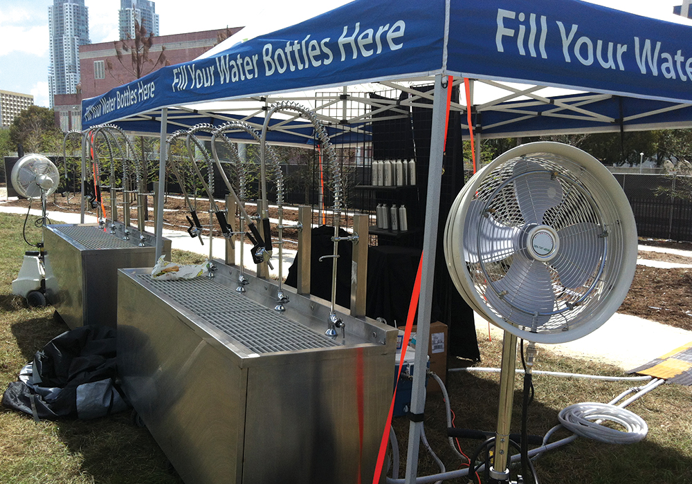 Water stand with fans