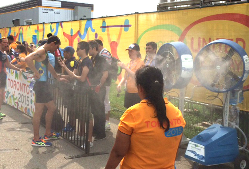Misting fans for pan am games runners