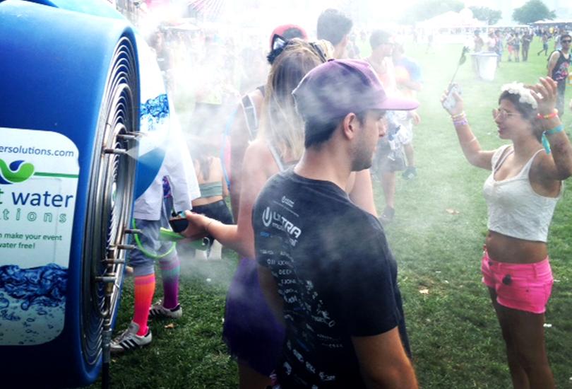 misting fans at concert